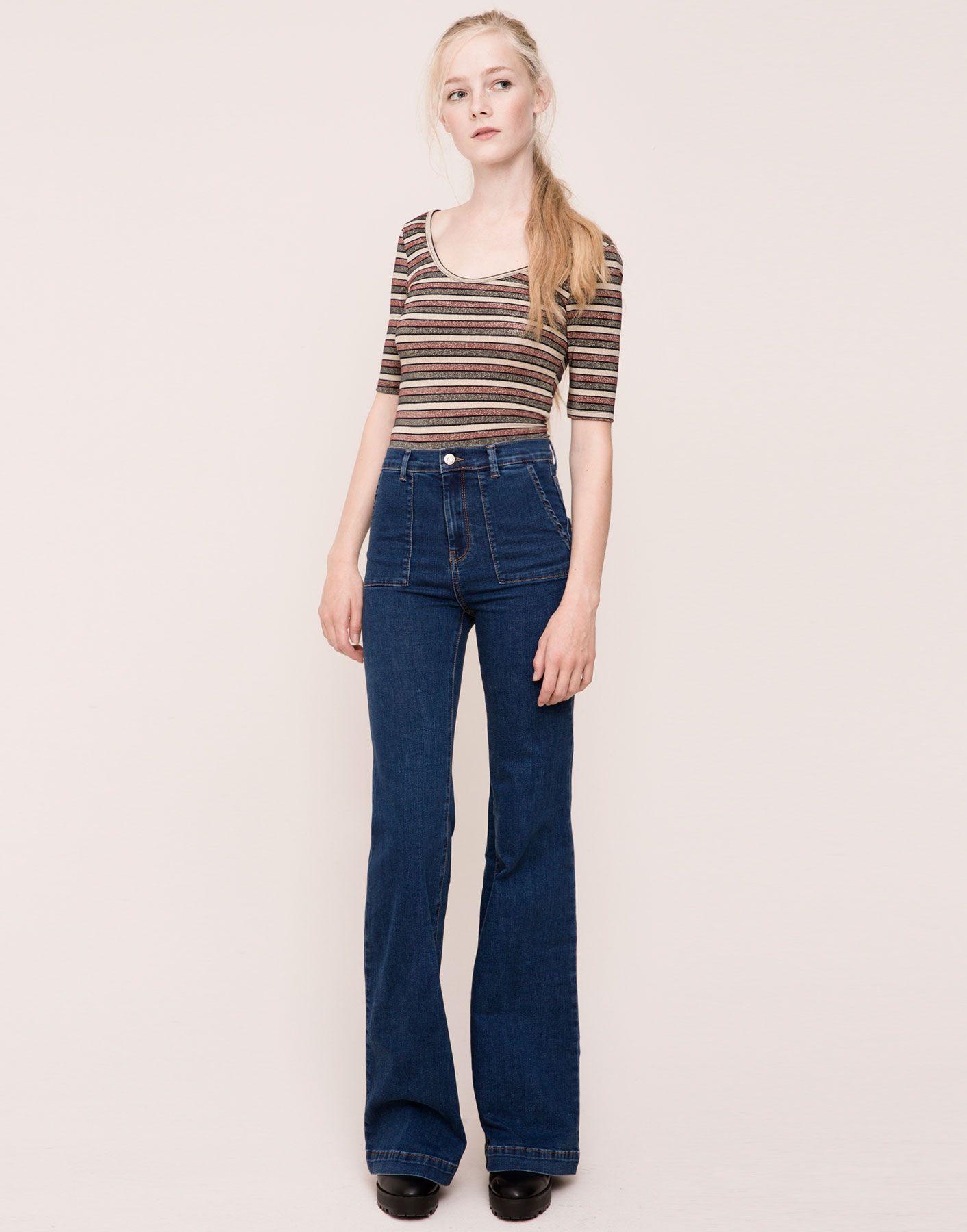 Plastrón Jeans Acampanado Elástico Bolsillo Mujer wuPTlOZkXi