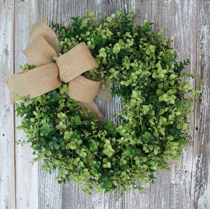 Artificial Eucalyptus Two Tone Boxwood Style Wreath Small
