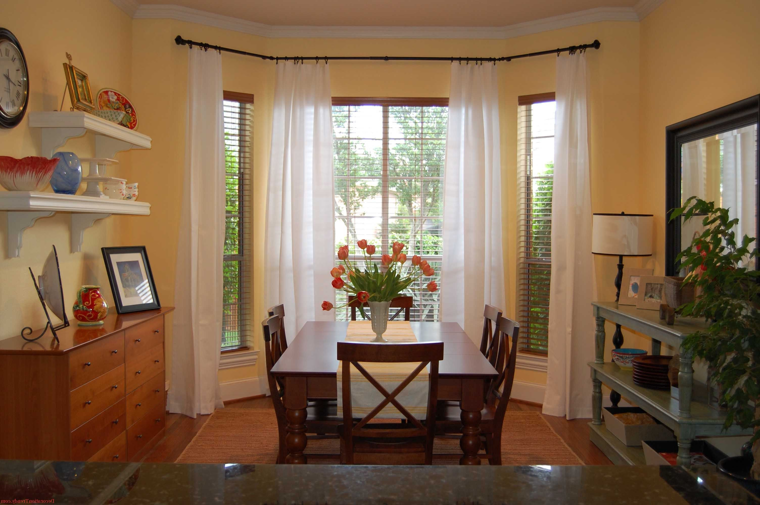 Sheer White Curtain For Simple Dining Room Design  Comfort Dining Unique Simple Dining Room Design Inspiration