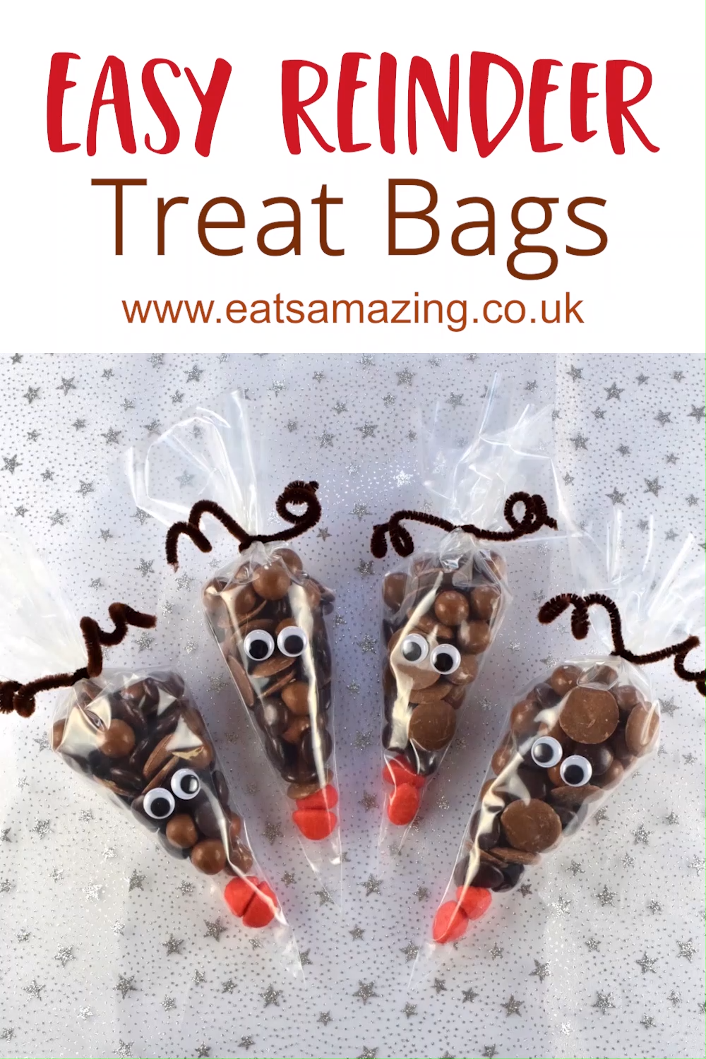 Easy Reindeer Treat Bags for Christmas