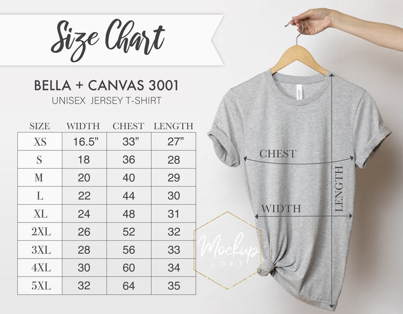 Size Chart Bella Canvas 3001 Tshirt Measurements 3001 Size | Etsy | Womens  football shirts, Graphic tee shirts, T shirt