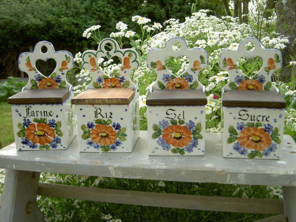 Lot de 4 - BOITE SEL SUCRE FARINE RIZ en faience de FRANCE décor fleurs VINTAGE