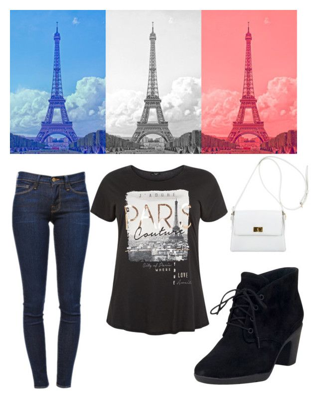 """Save Paris"" by fashionkatie ❤ liked on Polyvore featuring Frame Denim, Clarks and Chanel"