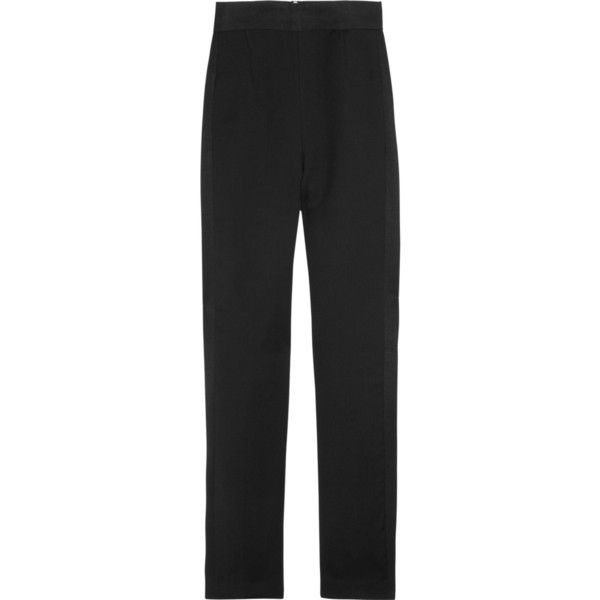 Emilio Pucci Cropped twill straight-leg pants ($500) ❤ liked on Polyvore featuring pants, capris, trousers, emilio pucci, jeans, black, high-waist trousers, high-waisted trousers, straight leg pants and high rise pants