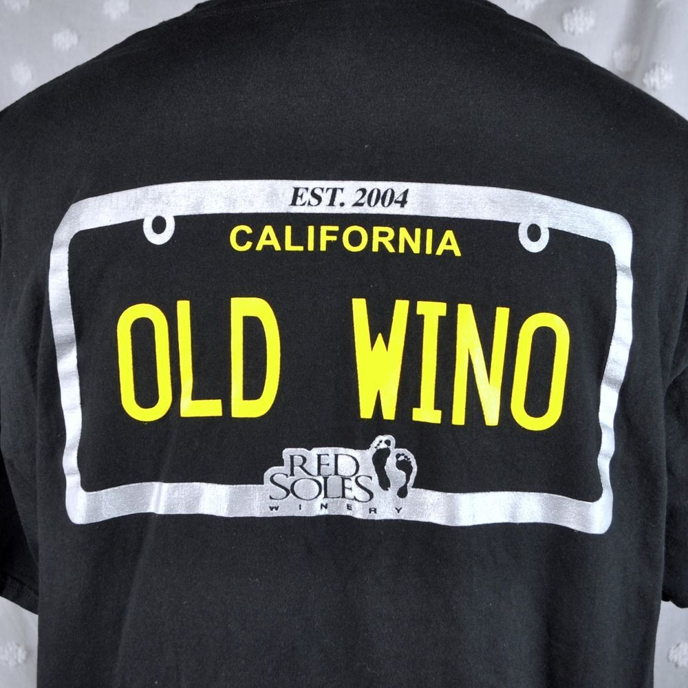T shirt design evansville indiana - Red Soles Winery Old Wino Mens Xl T Shirt Paso Robles California Wine Foot Print