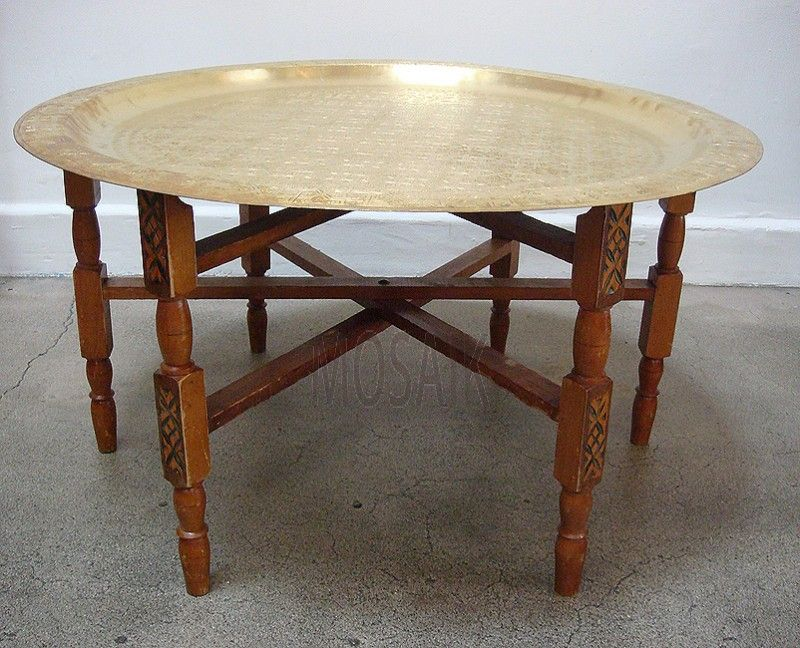 Moroccan Brass Tray Table With Folding Stand Brass Tray Table