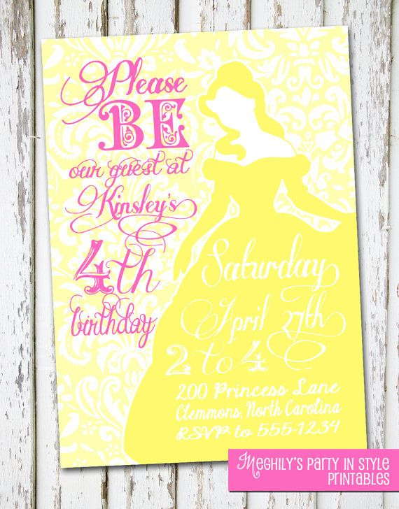 Belle Beauty and the Beast Invite Meghilys Printables Pinterest