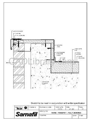 Kerb Parapet Adhered Over Concrete Deck Sarnafil Roof