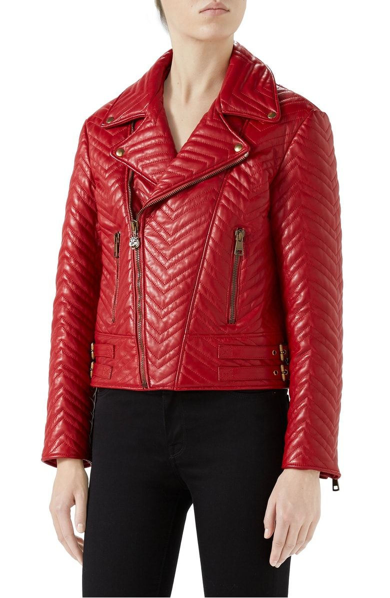 Gucci Heart Quilted Leather Biker Jacket Leather jacket