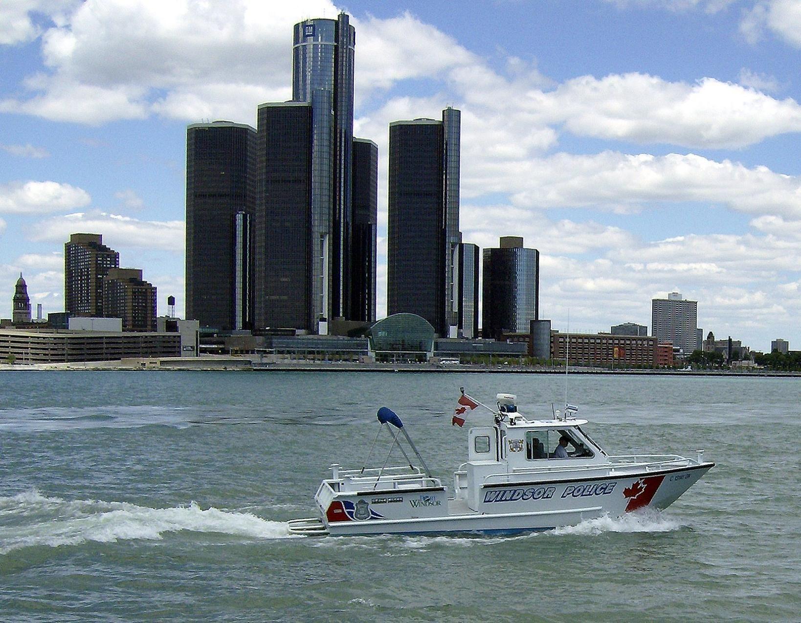 The Renascence  Center & the Detroit River