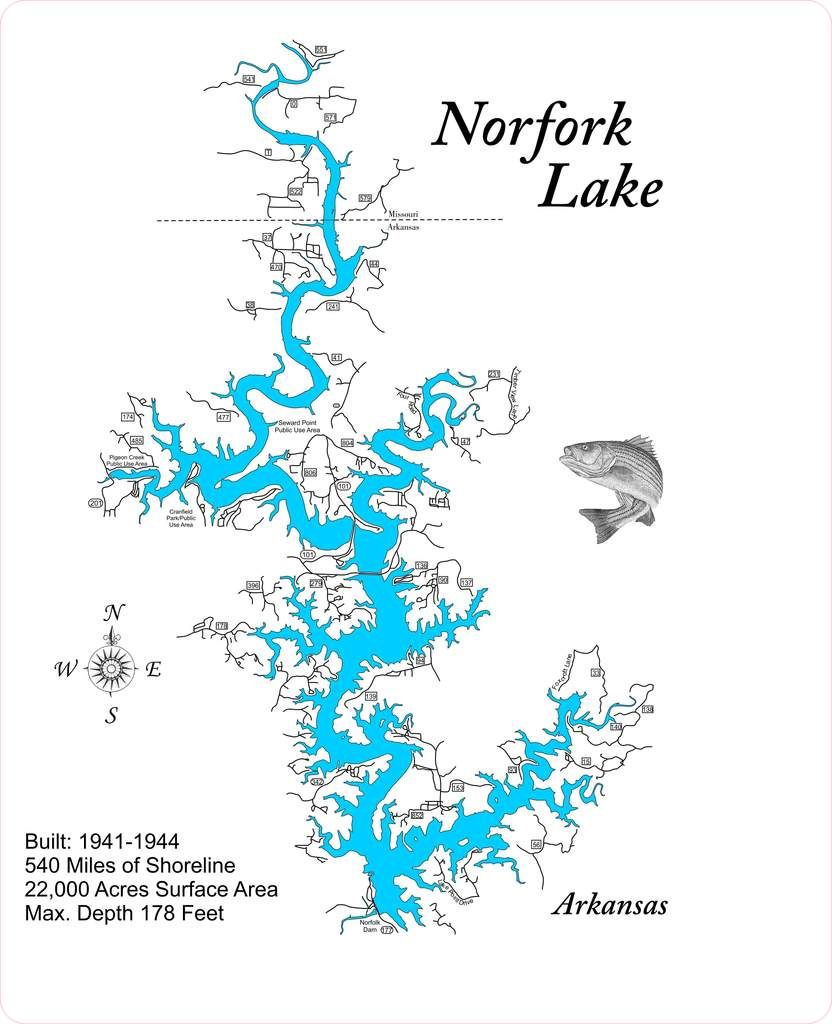 Map Of Arkansas Lakes