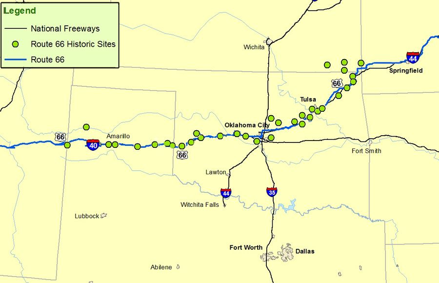 Kansas, Oklahoma, Texas Map  Route: A Discover Our Shared Heritage