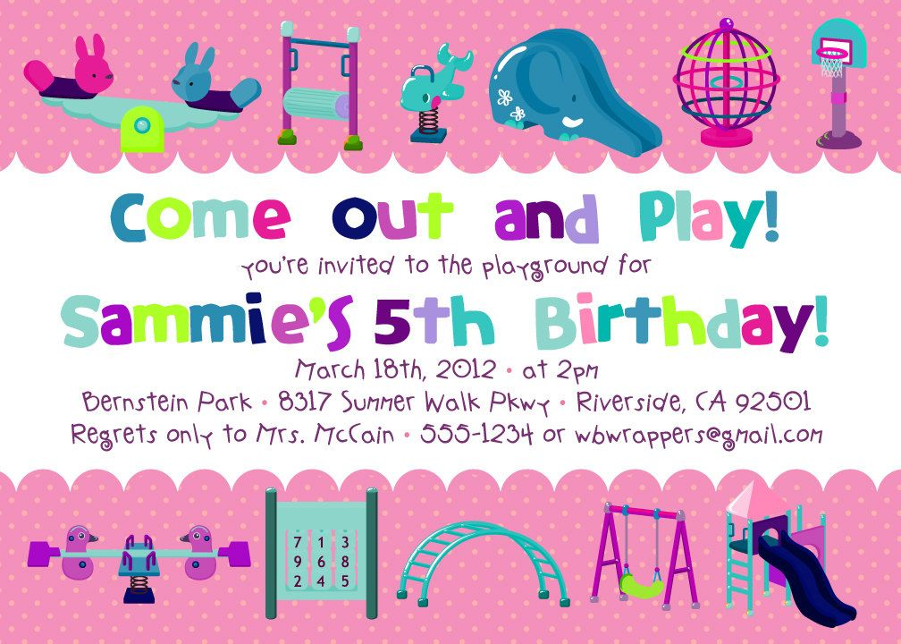 PLAYGROUND Themed Birthday Party Invitations Wording