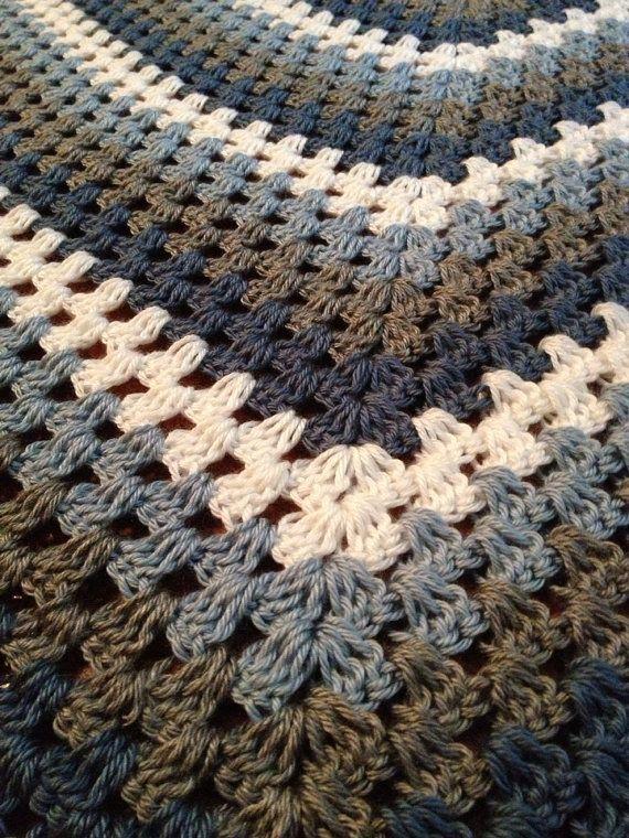 Crochet Granny Square Afghan, Crochet Throw, Granny Square Blanket ...