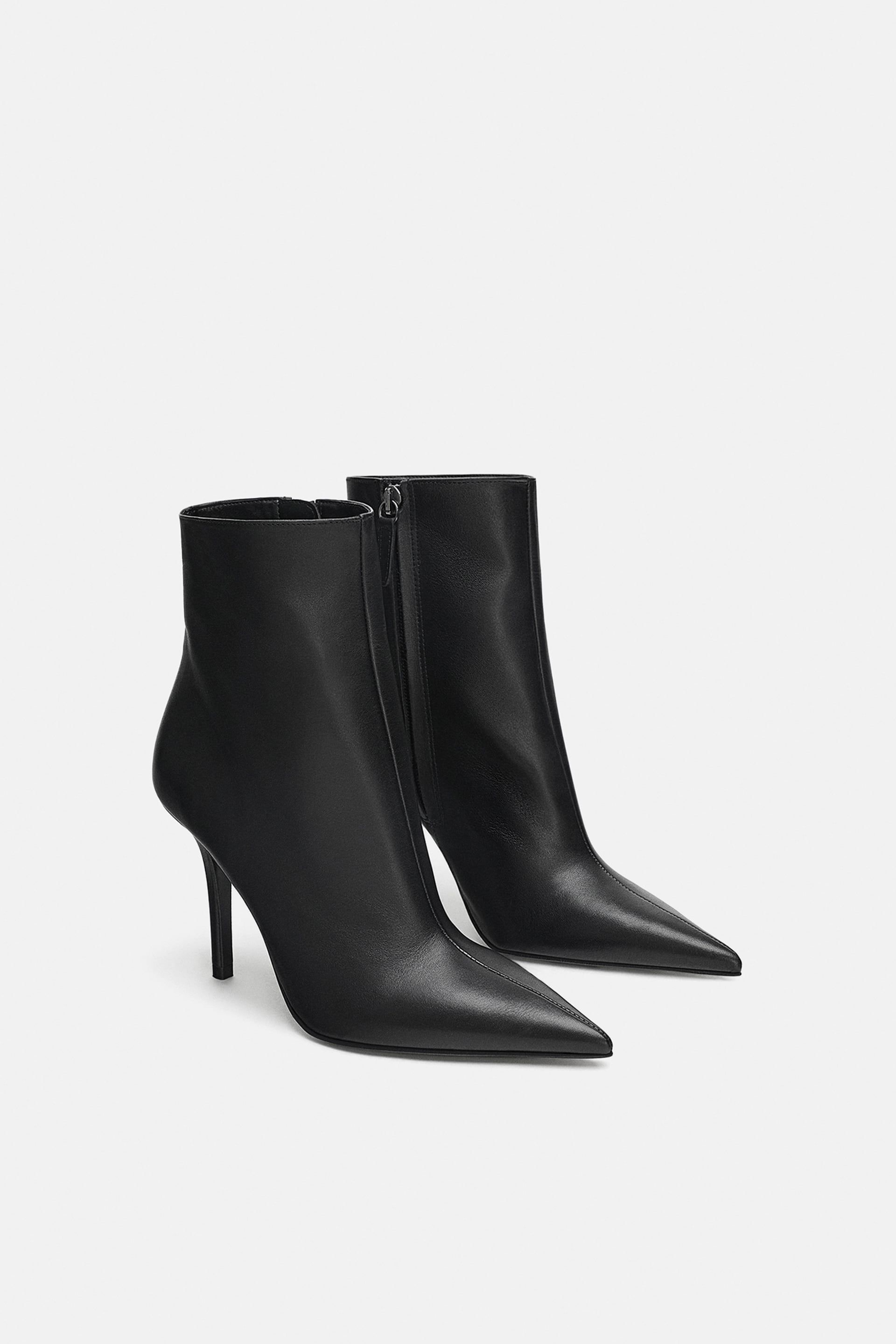 a65953a5bb699 Image 3 of LEATHER STILETTO HEELED ANKLE BOOTS from Zara