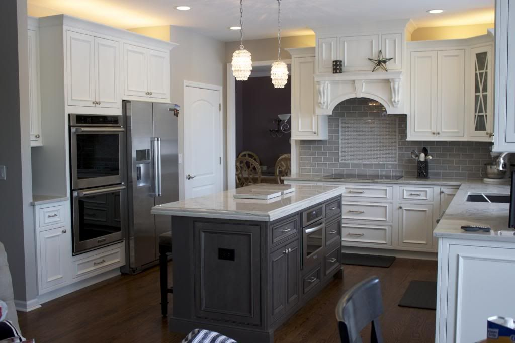 I want this kitchen. White painted cabinets with gray ...