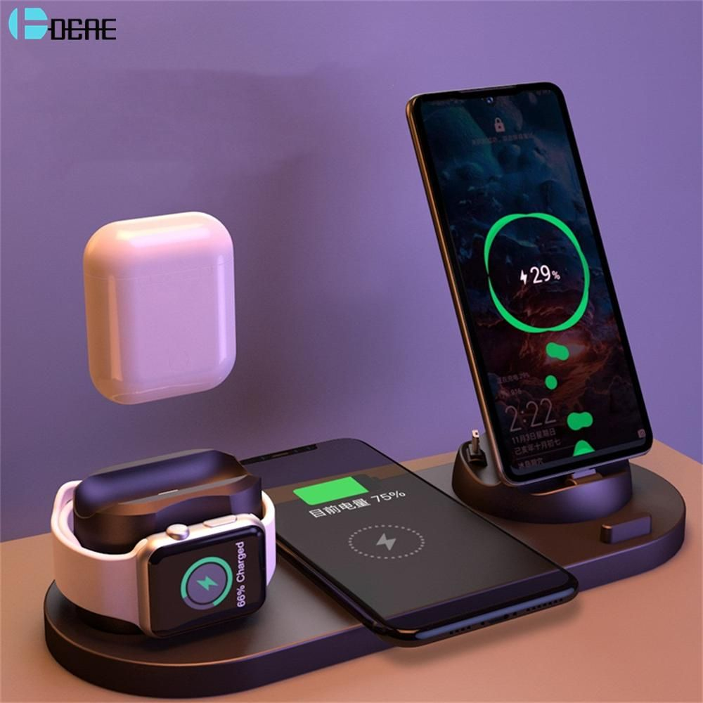 Dcae 6 In 1 Wireless Charger Dock Station For Iphone Android Type C Usb Phones 10w Qi Fast Charging For Apple Watch Airpods Pro