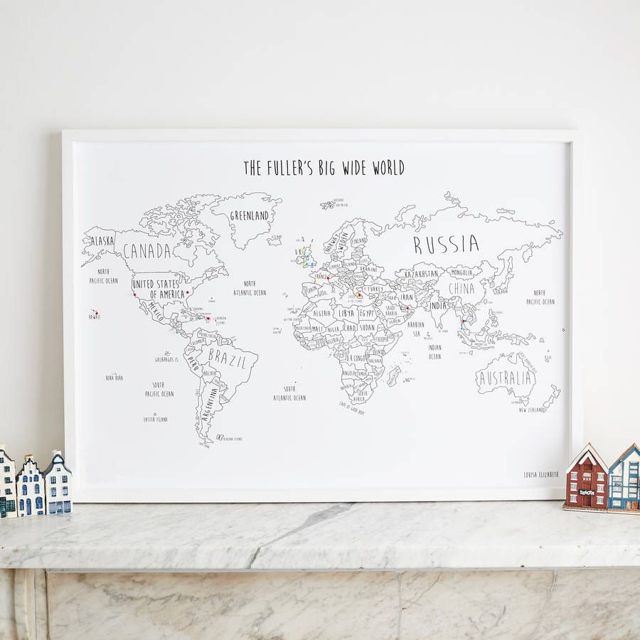 Personalised world travel map with pins travel maps room decor personalised world travel map with pins gumiabroncs Image collections