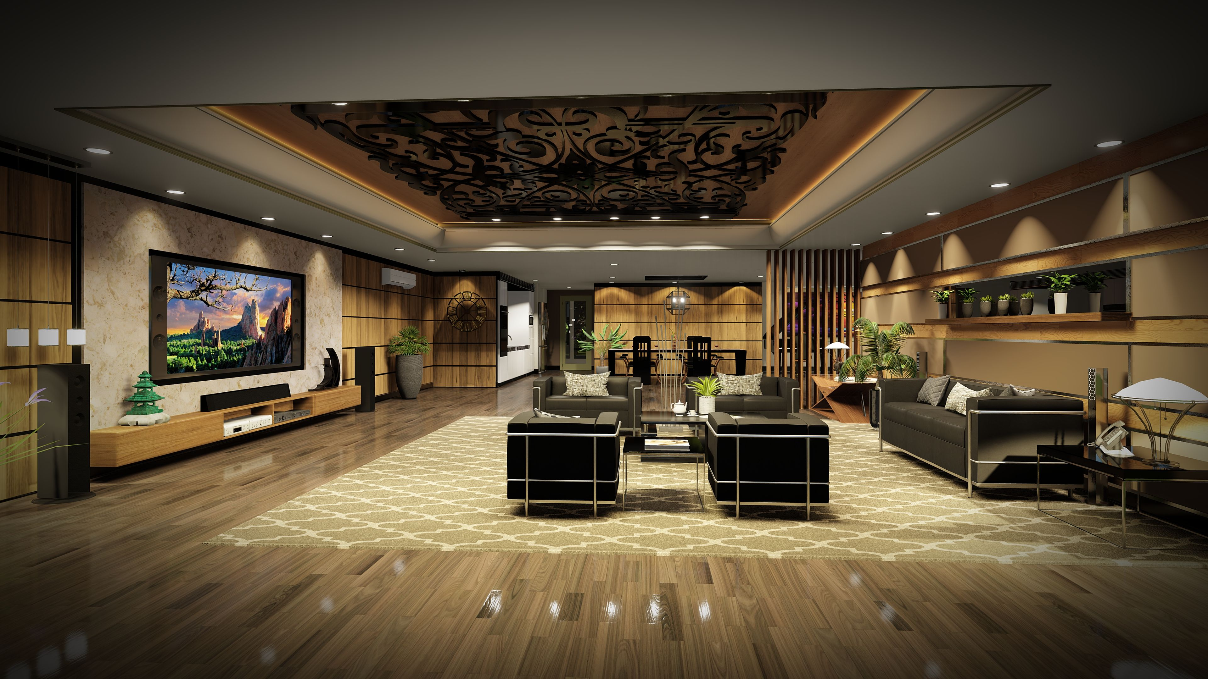 Modern Lounge Design Concept Created In Chief Architect Rendered