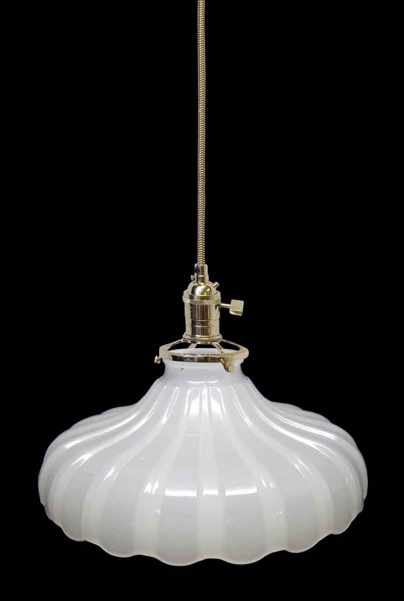 Custom 1920s White Milk Glass 9 25 In Pendant Light Olde Good Things Milk Glass White Milk Glass Vintage Pendant Lighting White glass pendant light