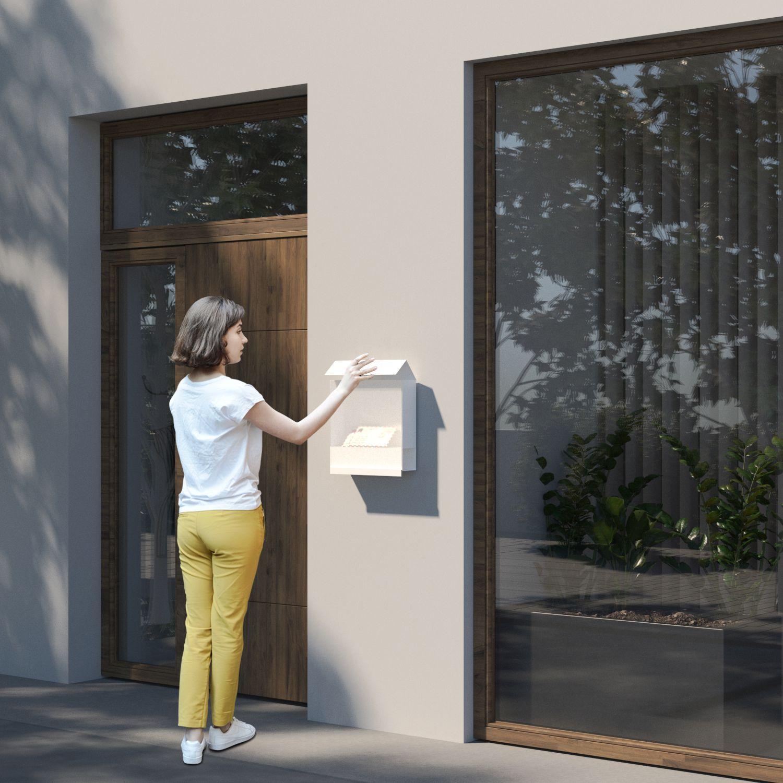 Briefkasten mit Zeitungsfach Design Wandbriefkasten Manhattan Edelstahl Bravios