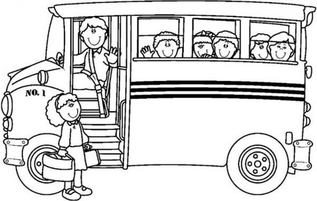 Young Shildren Getting Up To A School Bus Coloring Page