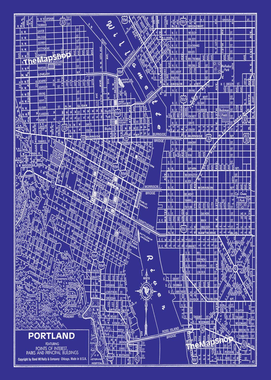 1938 portland oregon street map vintage blueprint 16x20 print poster 1938 portland oregon street map vintage blueprint 16x20 print poster malvernweather Images