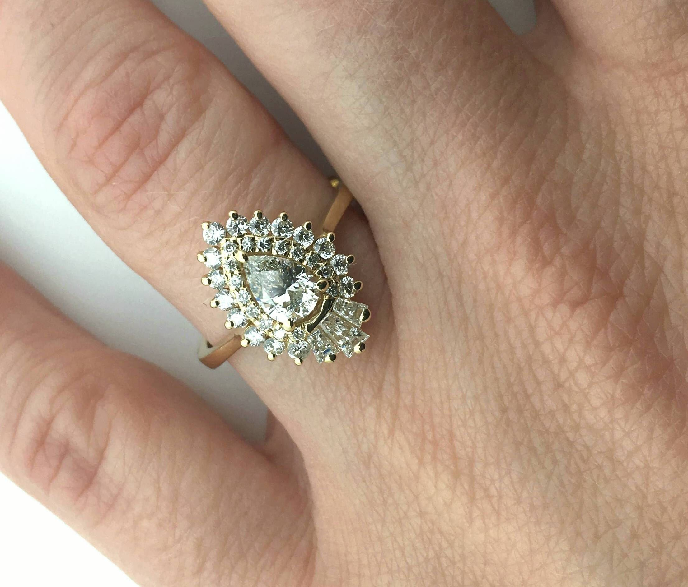 carat diamond engagement ring vintagek yellow gold promise