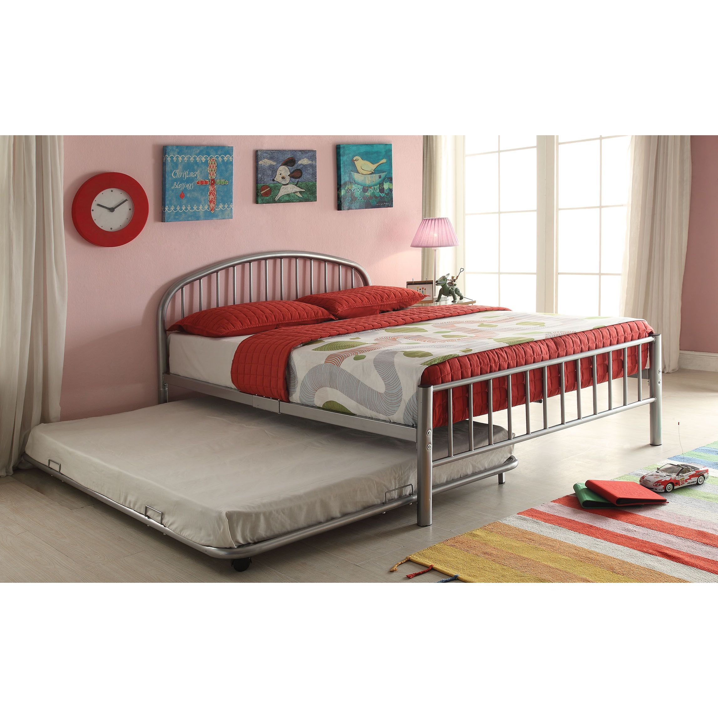 new styles cba74 38d7d Acme Cailyn Silver Metal Full Size Trundle Bed (Silver, 73L ...