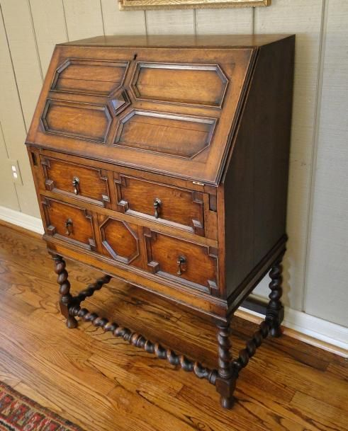 Antique English Barley Twist DESK Secretary Jacobean Orig. Hardware Patina  Old - Antique English Barley Twist DESK Secretary Jacobean Orig