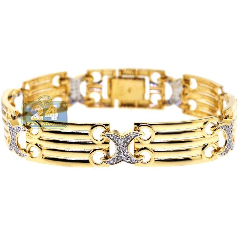 2ef28605a3c 14K Yellow Gold 0.75 ct Diamond X Link Womens Bracelet in 2018 ...