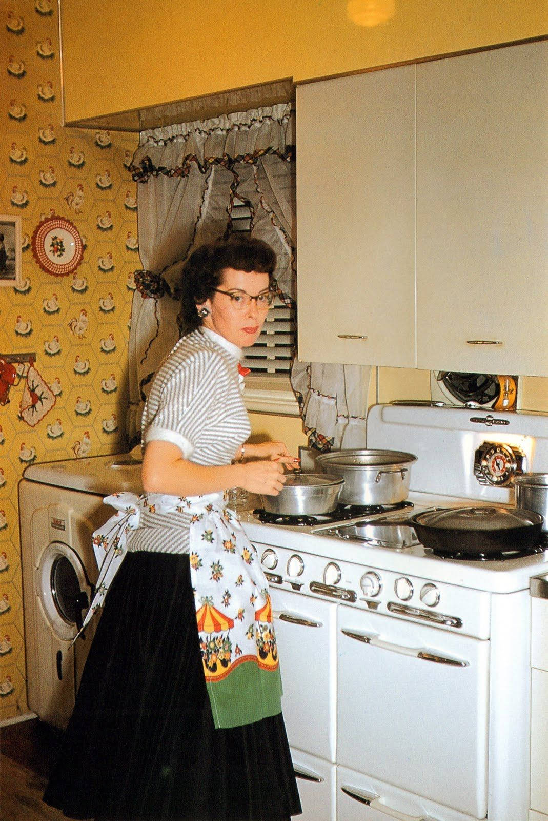 Vintage yellow kitchen | Vintage Lady cooking wearing an ...