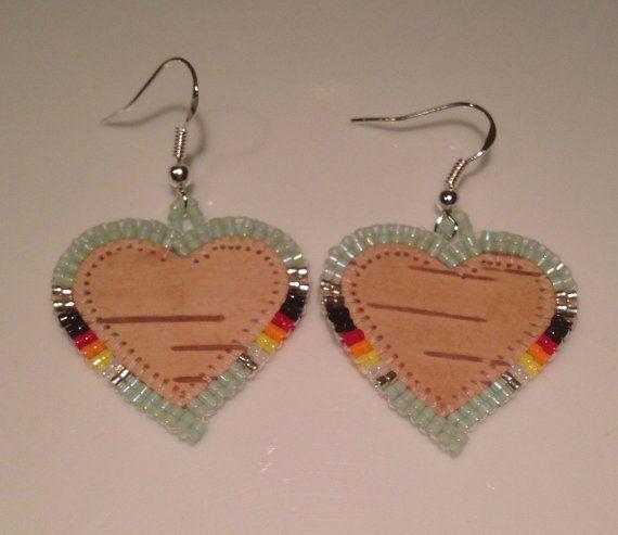 Native American Beaded Earrings. Birch Bark mint by BirchBarkBetty