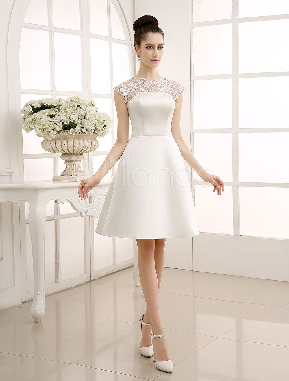 Knee-Length Ivory Reception Wedding Dress with A-Line Sheer Lace ...