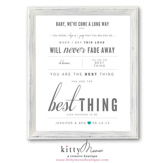 Light Gray Teal Ray Lamontagne You Are The Best Thing Wedding Paper Anniversary Gift Song Lyrics Wall Art Print Qty