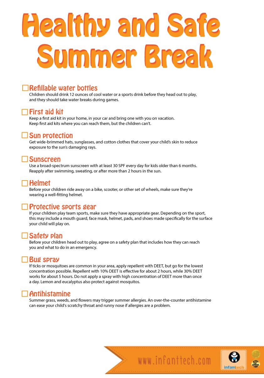 summer safety checklist Google Search Kids health
