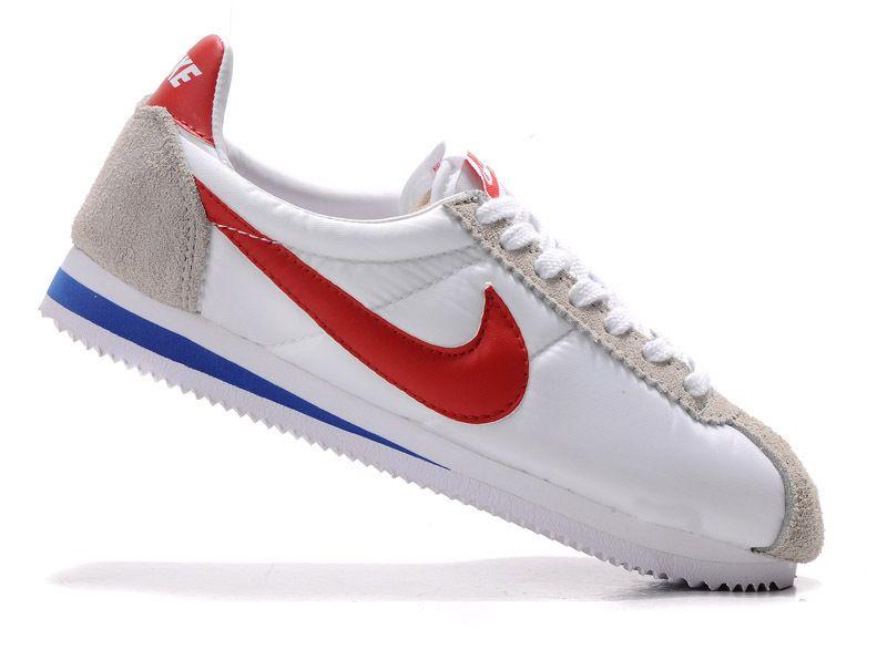 Nike Classic Cortez Nylon Shoes White Red Grey