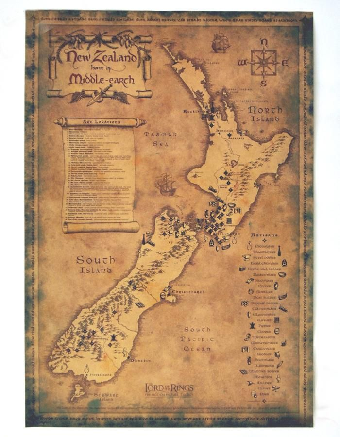 Retro Classic Old New Zealand Map Vintage Movie Poster Wall Art Crafts Sticker Paint Living Room