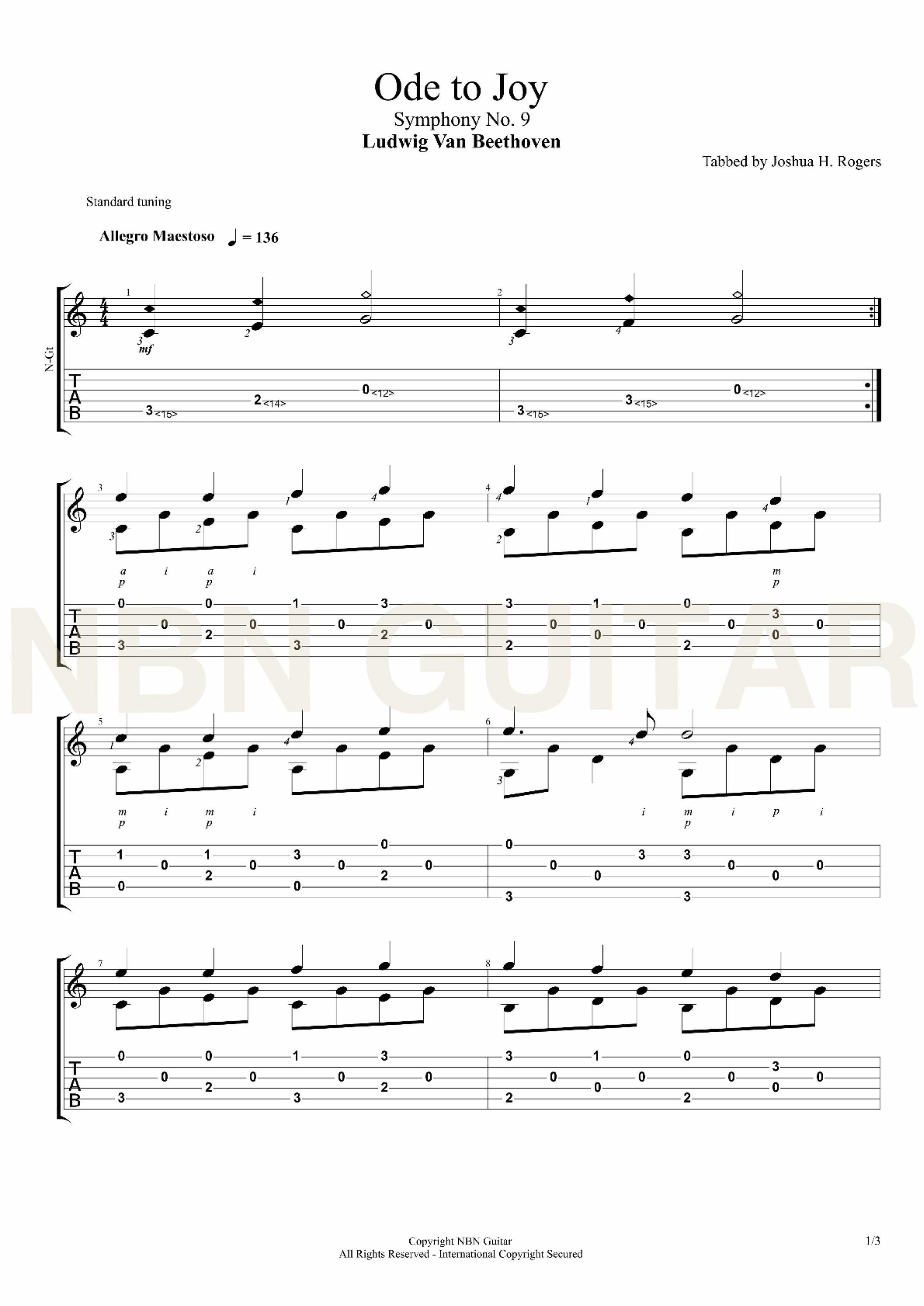Ode To Joy Ludwig Van Beethoven Ode To Joy Guitar Sheet Music