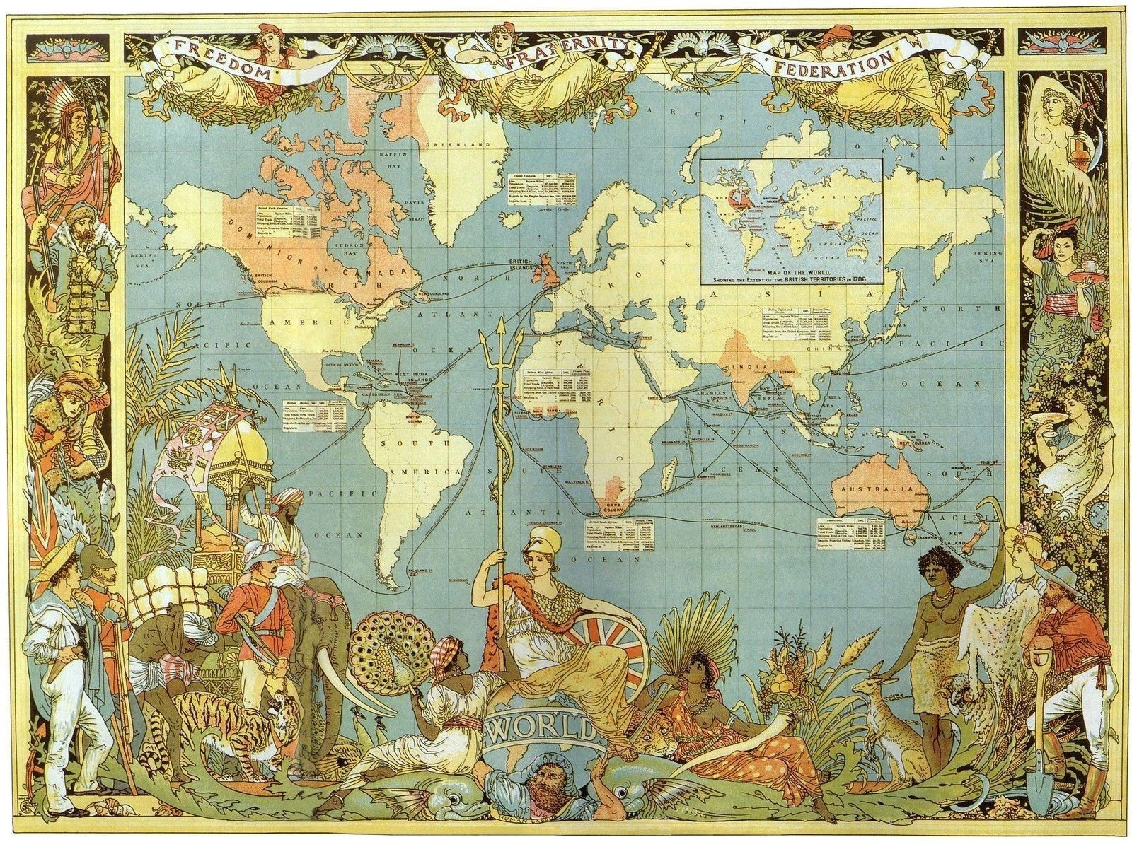 Vintage Style Map Of The World Victorian British Empire - World map to print a4