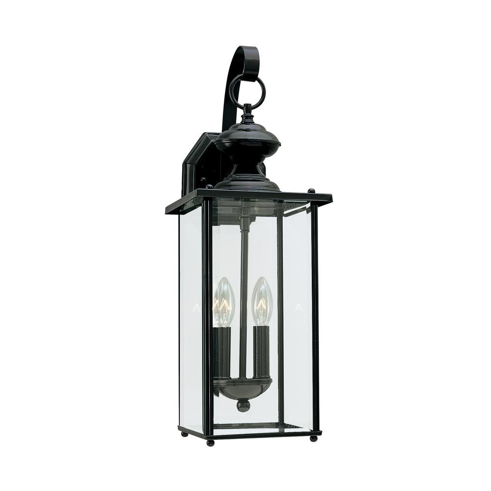 Sea Gull Lighting Jamestowne 2-Light Black Outdoor 20.25