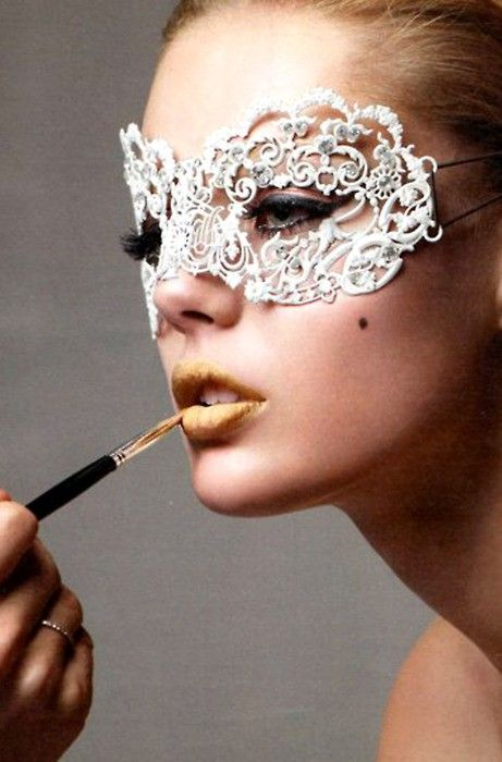 cut out doily to mask shape, coat with lacquer or glue to make firmer, stick diamante's in place, elastic to tie on each side. @Whitney Madlom next shoot. please. with the gold lipstick.