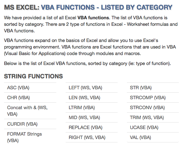 Tutorial on all Excel VBA functions, listed by category ... on vba projects, vba arrays, vba builders,