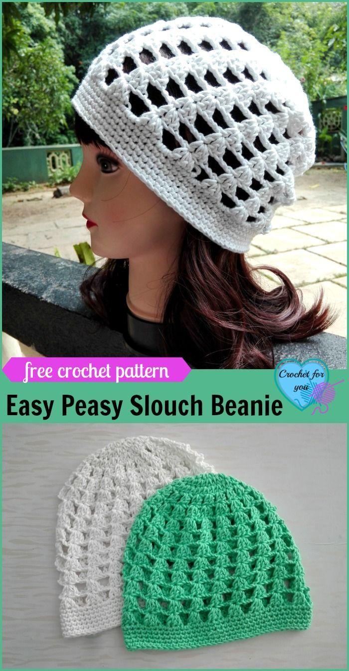 Easy Peasy Slouch Beanie Free Crochet Pattern | Pinterest