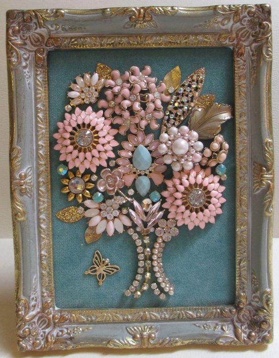 Jeweled Framed Jewelry Art Flower Bouquet Valentine Pink Blue Hearts ...