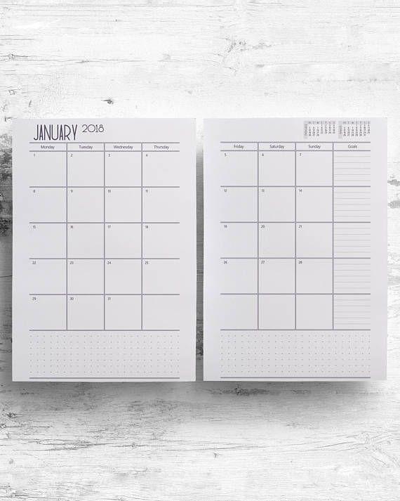 2018 2019 Boxes Monthly Printable Planner, Agenda Calendar Organizer