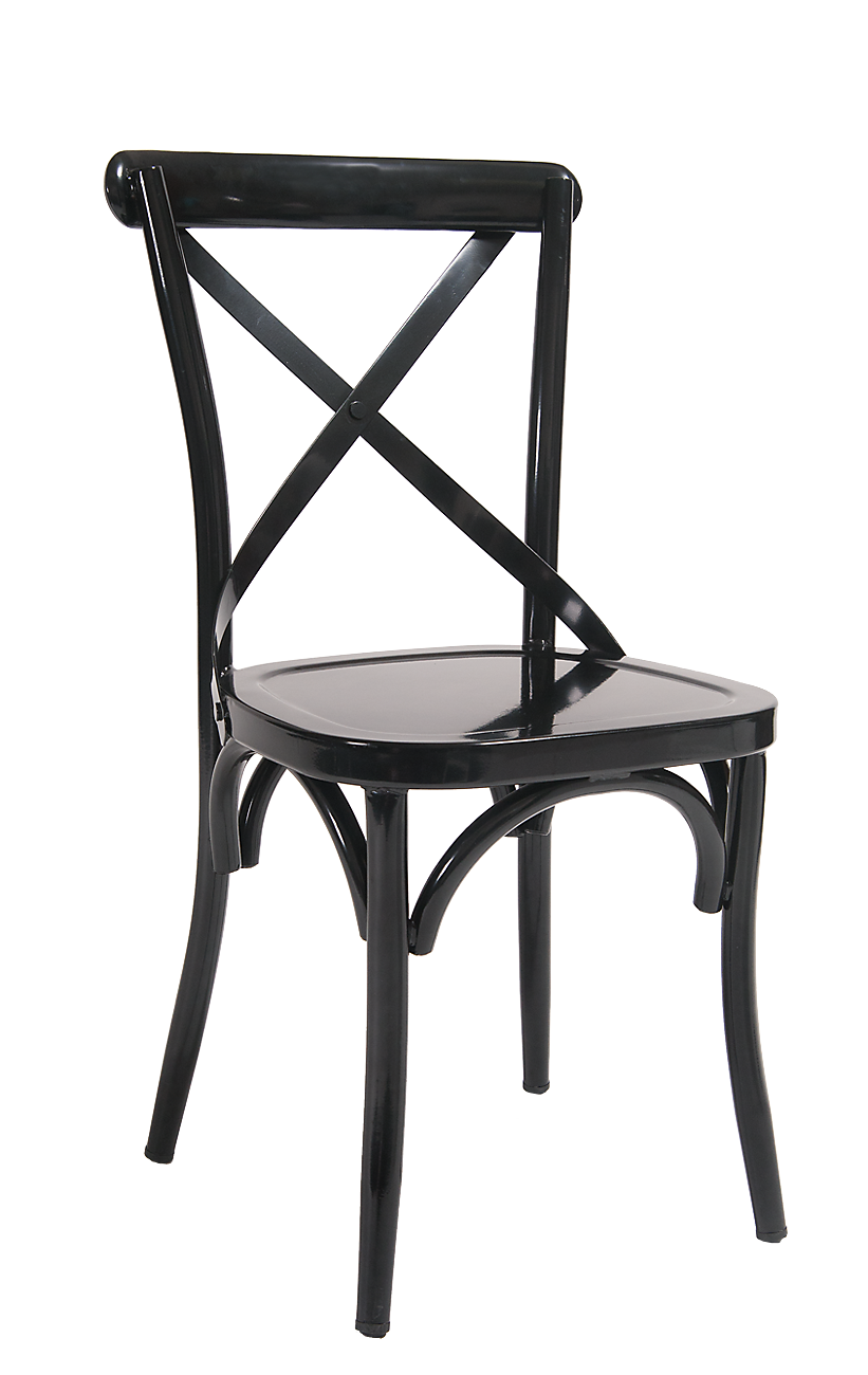 metal restaurant chairs portable dental chair furniture black cross back indoor finish seat height 18 5 heavy duty