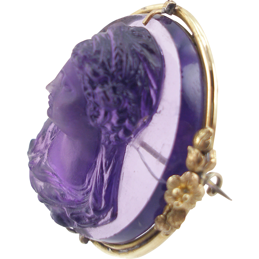 Antique Victorian 14K Amethyst Glass High Relief Cameo