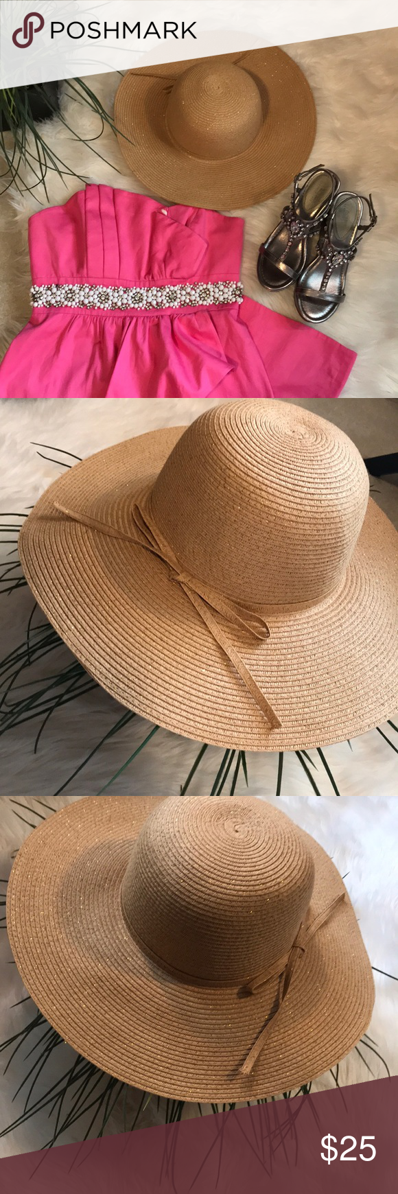 fe0512c4e101a Ann Taylor LOFT Summer Straw Hat Tan and Gold Exquisite Ann Taylor LOFT  round brim hat