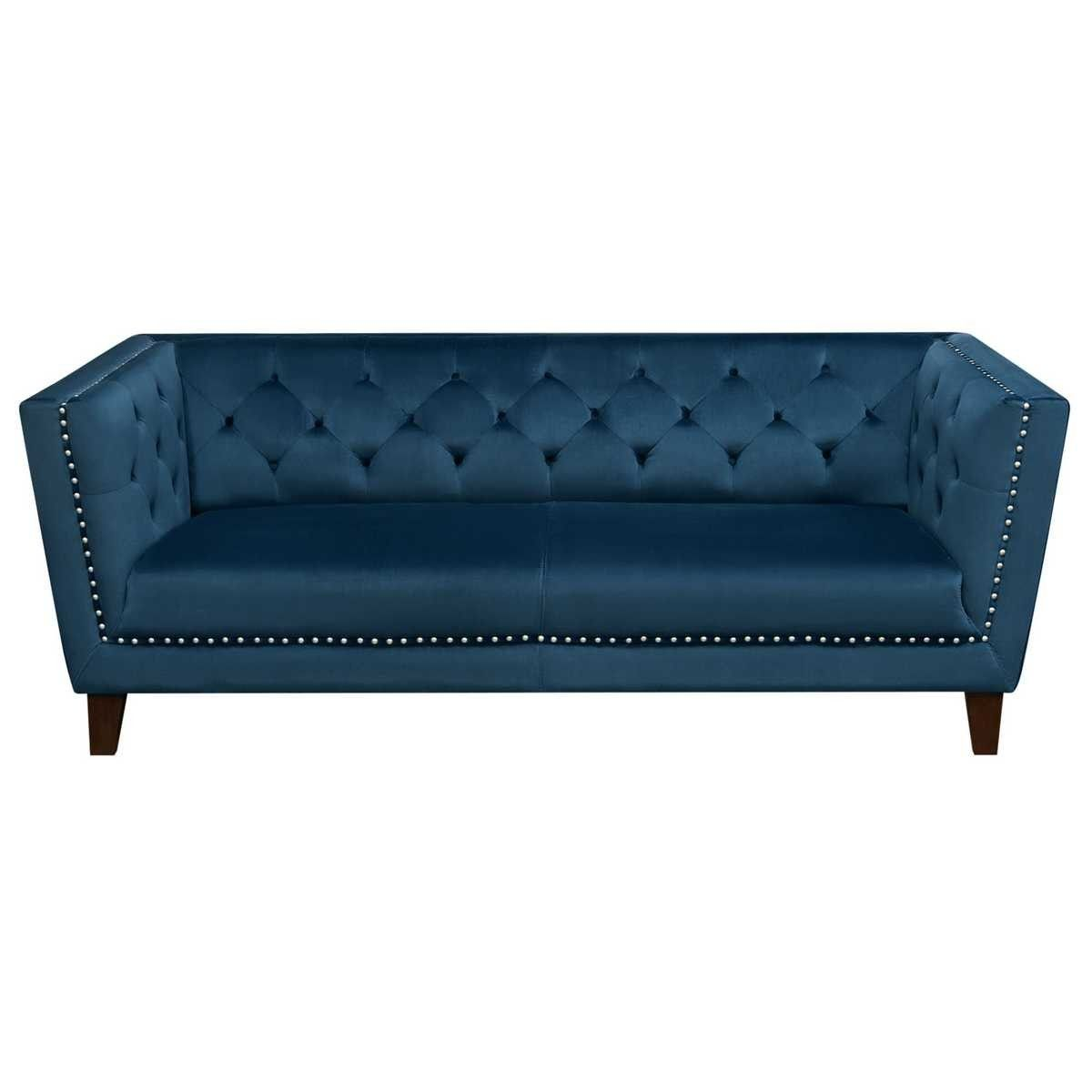 Grand Tufted Back Sofa With Nailhead Accent In Blue Velvet All Styles On Home Goods Sofa Upholstery Sofa Chesterfield Sofa